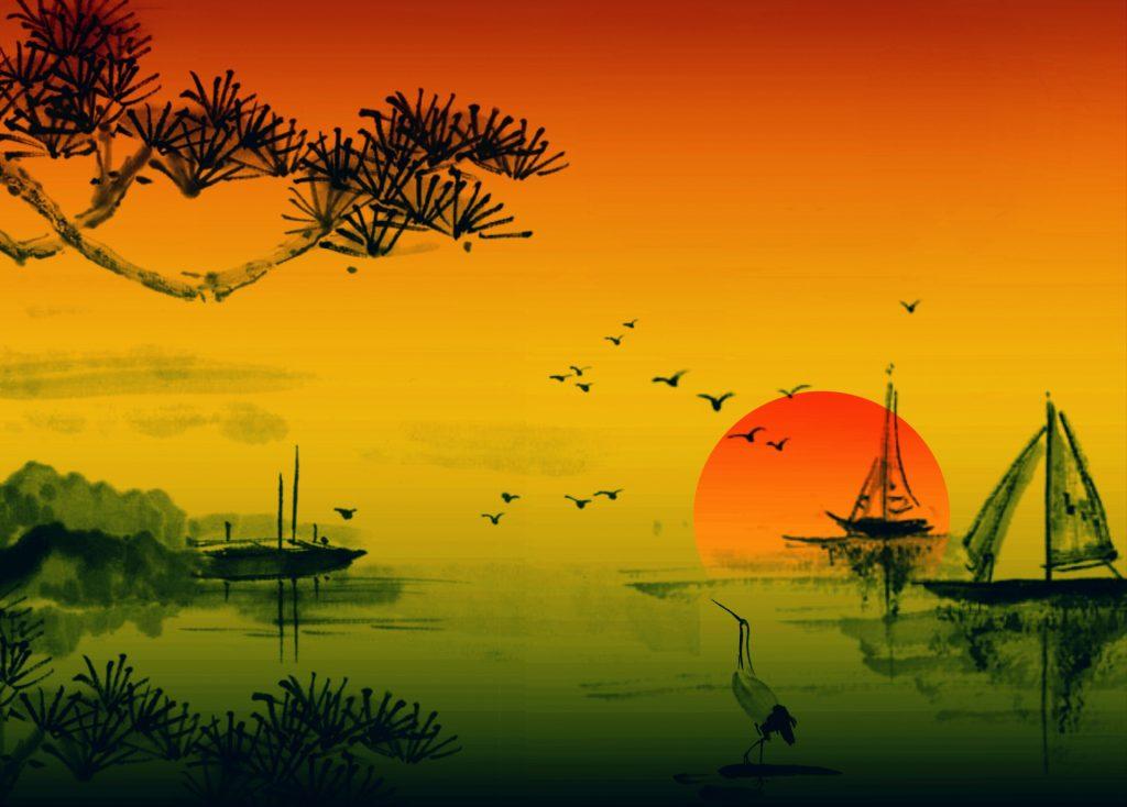coucher de soleil style estampe japonaise