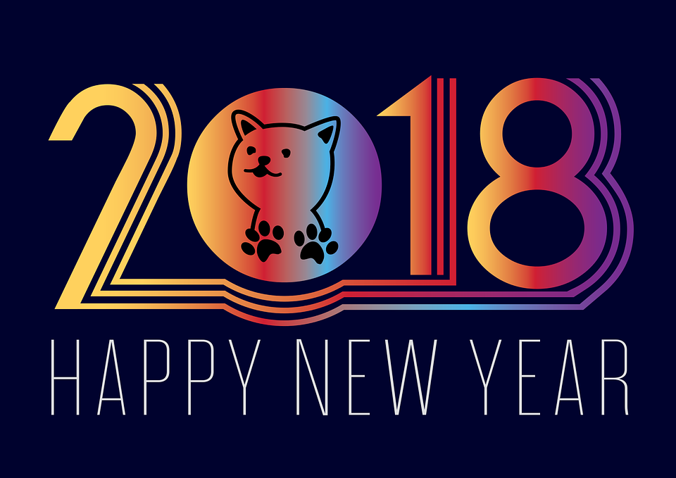 """Happy New Year 2018 !"" avec image de chien"